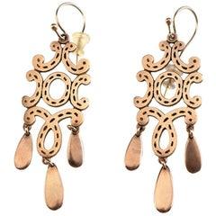 18 Karat Rose Gold Little Chandelier Earrings