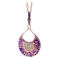 """18 Karat Rose Gold, """"luce stone"""", Lapis, Mother of Pearl, Green Agate, Necklace"""