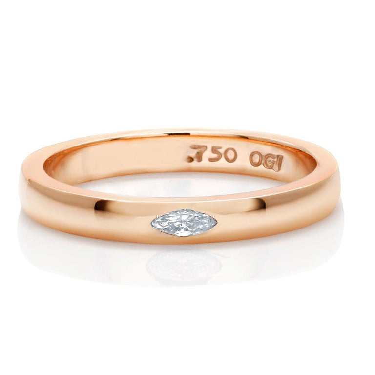 Contemporary 18 Karat Rose Gold Marquise Diamond Cocktail Ring For Sale