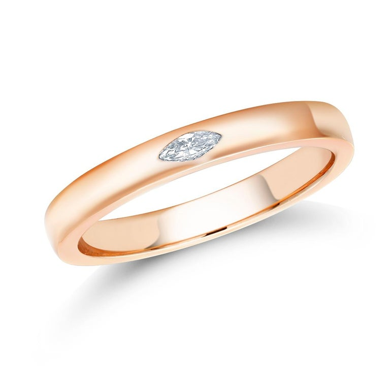 Marquise Cut 18 Karat Rose Gold Marquise Diamond Cocktail Ring For Sale