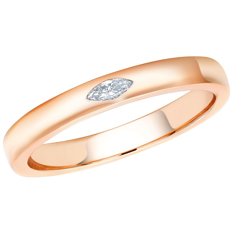 18 Karat Rose Gold Marquise Diamond Cocktail Ring For Sale