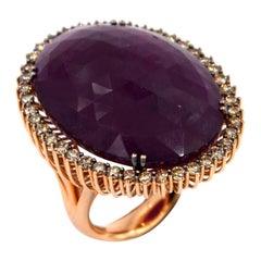 18 Karat Rose Gold Massive Ruby Brown Diamonds Garavelli Large Ring