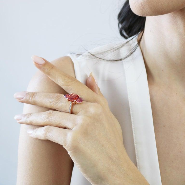Emerald Cut Paolo Costagli 18 Karat Rose Gold Mayla Garnet Ring with Diamonds For Sale