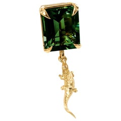 18 Karat Rose Gold Mesopotamia Contemporary Brooch with Chrome Diopside