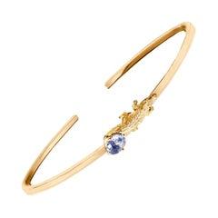 18 Karat Rose Gold Mesopotamian Bracelet with 0.65 Carats Light Blue Sapphire
