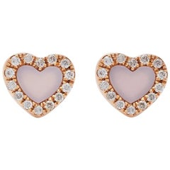 18 Karat Rose Gold Miami Heart Mother of Pearl and Diamond Stud Earrings