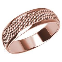 18 Karat Rose Gold Milgrain Polished Unisex Wedding Band