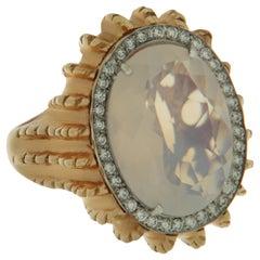 Milky Quartz Diamond Rose Gold Statement Ring