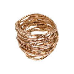 18 Karat Rose Gold Millefili Ring with Diamonds