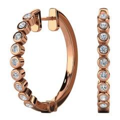 18 Karat Rose Gold Mini Bezel Hoop Diamond Earrings '3/4 Carat'