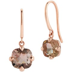 18 Karat Rose Gold Mismatched Tourmaline Hook Earrings
