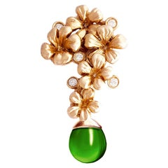 18 Karat Rose Gold Modern Blossom Transformer Brooch with Diamonds