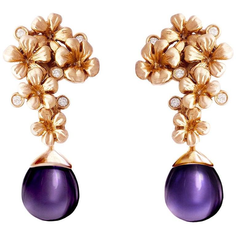18 Karat Rose Gold Modern Plum Blossom Cocktail Earrings with Diamonds For Sale