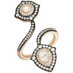 18 Karat Rose Gold Monan 0.79 Carat Diamond Cocktail Ring