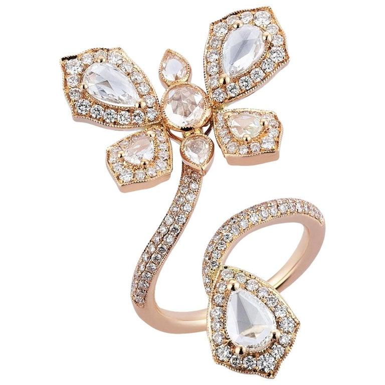ff1be70628fcb 18 Karat Rose Gold Monan Butterfly 2.74 Carat Diamond Cocktail Ring