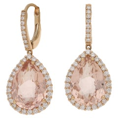 18 Karat Rose Gold Morganite Diamond Drop Earrings
