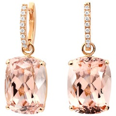18 Karat Rose Gold Morganite Diamond Hoop Drop Earrings