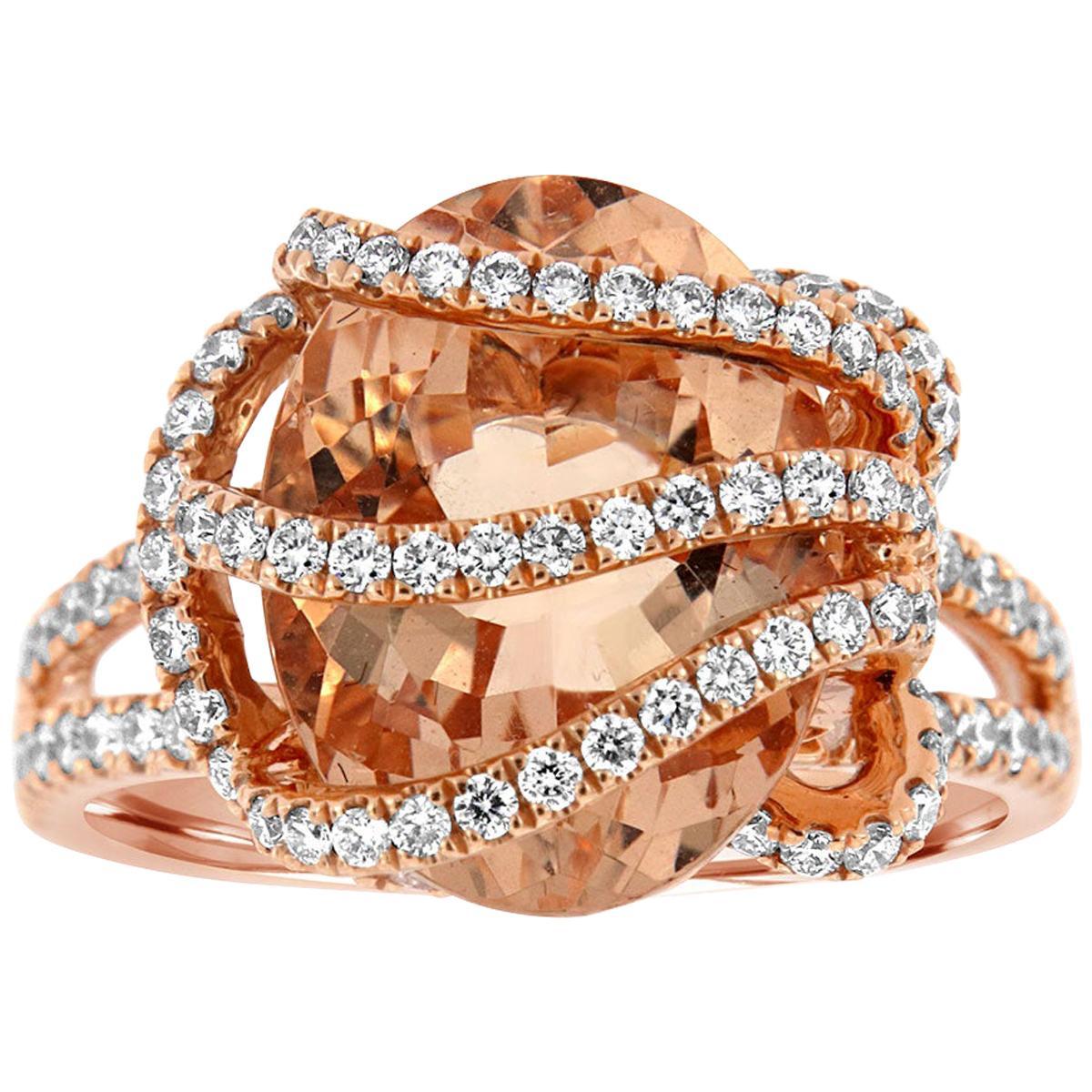 18 Karat Rose Gold Morganite Ring '6 Carat'