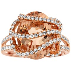 18 Karat Rose Gold Morganite Ring '6 Carat'