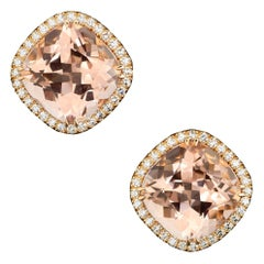 18 Karat Rose Gold Morganites 6.0 Carat Diamond Entourag 0.35 Carat Earrings