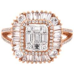 18 Karat Rose Gold Mosaic Set Diamond Cluster Engagement Ring