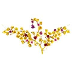 18 Karat Rose Gold Mughal Style Artisan Necklace with Rubies