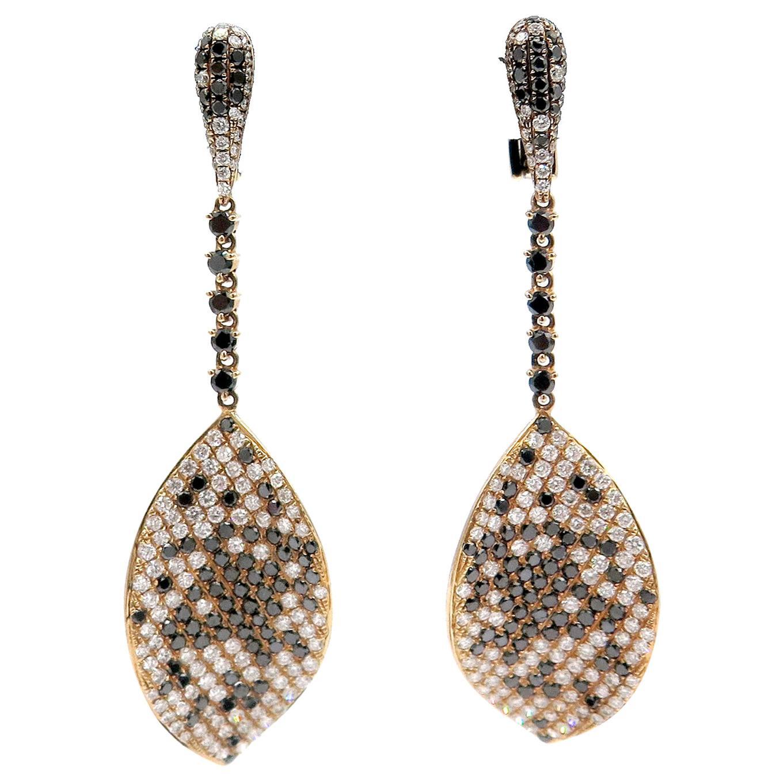 18 Karat Rose Gold Multi-Color Diamond Lever Back Dangle Earrings