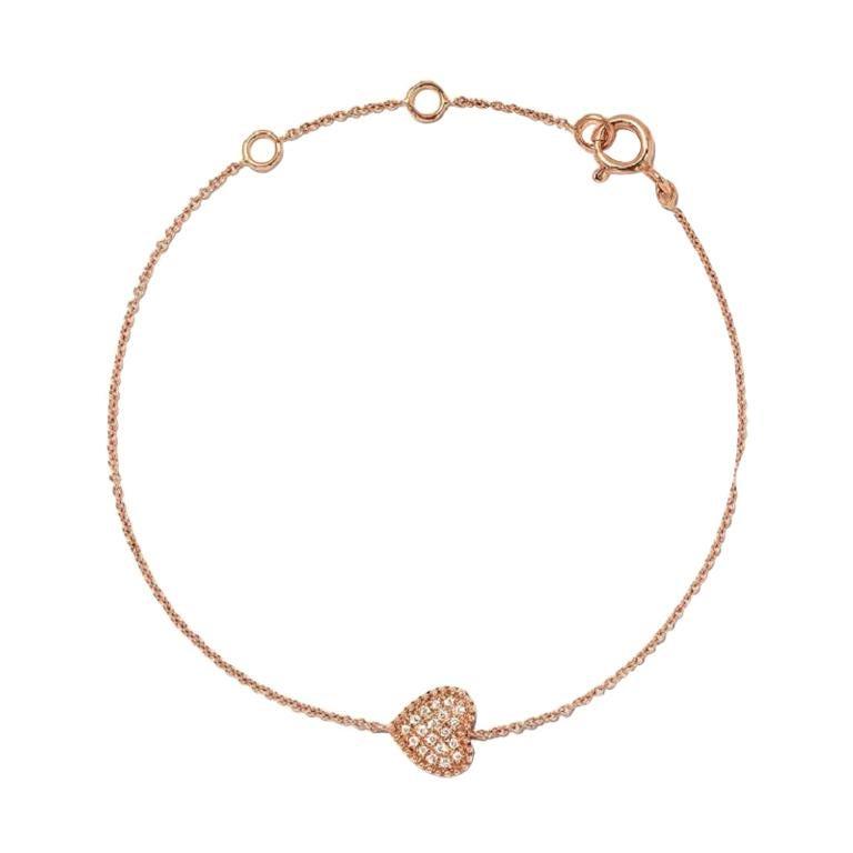 18 Karat Rose Gold Mye Heart Beading Pave Diamond Bracelet