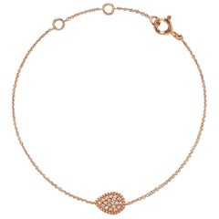 18 Karat Rose Gold Mye Pear Beading Pave Diamond Bracelet