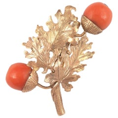 18 Karat Rose Gold Oak Leaves and Acorns Brooch