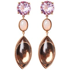 18 Karat Rose Gold Opal Amethyst and Rose Quartz Dangle Earrings