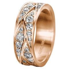 Furrer Jacot 18 Karat Rose Gold 'Origami' Woven Diamond Ladies Band