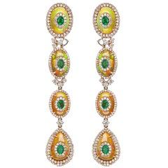 18 Karat Rose Gold Oval Emerald, Ethiopian Opal and Pave Diamond Drop Earring