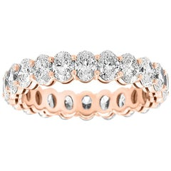 18 Karat Rose Gold Oval Eternity Diamond Ring '3 Carat'