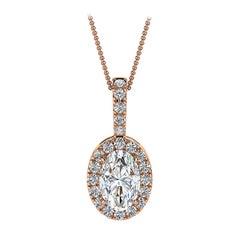 18 Karat Rose Gold Oval Halo Diamond '1/2 Carat'