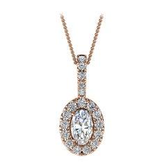 18 Karat Rose Gold Oval Halo Diamond '1/3 Carat'