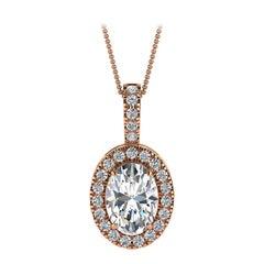 18 Karat Rose Gold Oval Halo Diamond '3/4 Carat'
