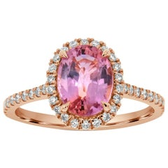 18 Karat Rose Gold Oval Pink Sapphire Halo Ring GIA 'Center 2.11 ct.'