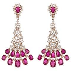18 Karat Rose Gold Oval Ruby and Diamond Dangle Earring