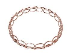 18 Karat Rose Gold Ovals and Rhombus Bangle Bracelet