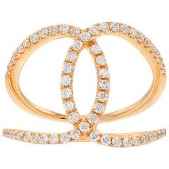 18 Karat Rose Gold Overlapping Loop Diamond Ring