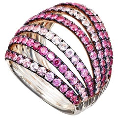 18 Karat Rose Gold Palladium Pink Sapphires Ring Aenea Jewellery