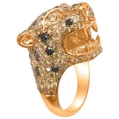 18 Karat Rose Gold Panther Ring with Yellow Diamond
