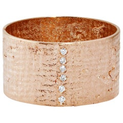 18 Karat Rose Gold Paper Cigar Ring with Diamonds by Allison Bryan