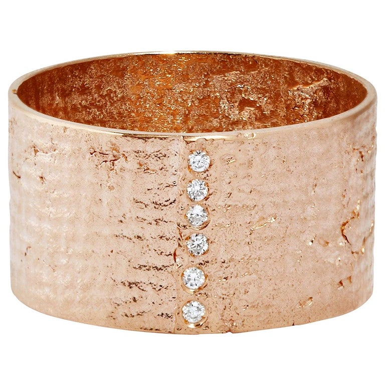 18 Karat Rose Gold Paper Cigar Ring with Diamonds by Allison Bryan For Sale