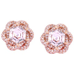 18K Rose Gold Pave Border  0.75ct Each Hexagon Diamond Flower Earrings Studs