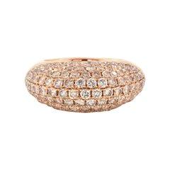 18 Karat Rose Gold Pave Champagne Diamond Dome Ring