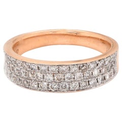 18 Karat Rose Gold Pave Diamond Band