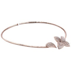 18 Karat Rose Gold Pave Diamond Flower Collar Necklace