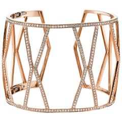 18 Karat Rose Gold, Pave Diamond Large Hexagon Open Cuff